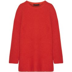 The Row Taby oversized chunky-knit cashmere sweater (£960) ❤ liked on Polyvore featuring tops, sweaters, red, red cashmere sweater, cashmere sweater, oversized cashmere sweater, chunky oversized sweater and wool cashmere sweater