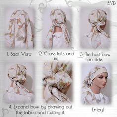 How to tie the Cap-n-Wrap Scarf - Modest Anytime Diy Scarf, Scarf Wrap, Types Of Handbags, Head Scarf Tying, Head Scarf Styles, Pelo Afro, Fabric Gift Bags, Turban Style, Bow Accessories