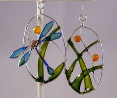 Resin Filled Dragonfly Path Wire Earrings by DelightfullyTwisted, $20.00