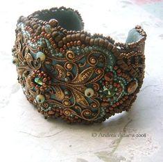 Beaded Filigree Cuff Bracelet by Beadmask.deviantart.com on @deviantART