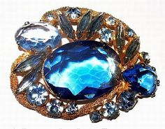 Juliana Ice Blue Rhinestone Brooch Pin D&E by BrightgemsTreasures