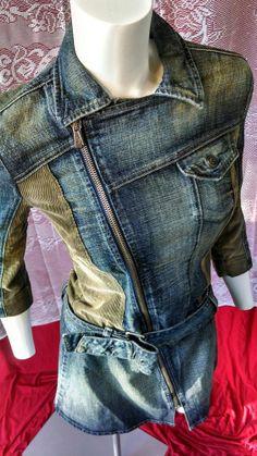 Woman M 80S VINTAGE MADE ITALY DIESEL DENIM DRESS ZIPPER BELT PUNK GRUNGE  WAVE  PUNK STEAMPUNK