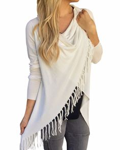 Fashion Blusas  Spring Autumn Women Blouses Tassels Irregular Hem Long Sleeve Knitted Cardigan Casual Plus Size Tops - White, XXXL Oh Yeah Visit our store