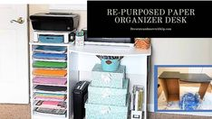 I am working on a station in my craft room giving me a space where my printer and cricut can be along with storage. We had an old computer desk, you know those inexpensive computer desk we all probably had once in our computer lives?   As you can see in the photo below, I needed to find a solution on how to store all of my Cricut vinyl sheets and scrapbooking paper.   The more I looked at the desk the more I realized this could be used for my cricut station. Bless Mr. Tip's heart when… Decorative Storage Boxes, Craft Storage, Paper Storage, Buying A Manufactured Home, Paper Organization, Organizing Life, Desk Makeover, Metal Desks, Paper Supplies