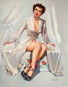 (TED) KUCK (American, d. Brunette Beauty in a Robe, Brown & Bigelow calendar illustration Oil on - Available at 2014 May 7 Illustration Art. Pin Up Pictures, Pin Up Drawings, Earl Moran, Pin Up Posters, Calendar Girls, Brunette Beauty, Pin Up Art, Old Art, Retro Art