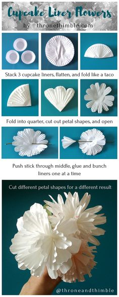 ideas diy paper flowers for kids cupcake liners for 2019 Cupcake Liner Crafts, Cupcake Liner Flowers, Flower Cupcakes, Paper Cupcake, Cupcake Liners, Cupcake Wrappers, Cupcake Garland, Cupcake Cupcake, Cupcake Bouquets