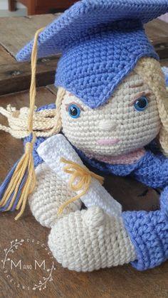 Melly Teddy Ragdoll Graduate Grace   MandMCrochetDesigns Crochet Dolls, Crochet Baby, Doll Patterns, Crochet Patterns, Lovey Blanket, Last Stitch, Single Crochet Stitch, Yarn Over, My Face Book