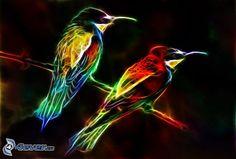 bunte Vögel auf einem Ast, fraktale Vogel