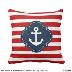 Red White & Blue Nautical Anchor Pillow