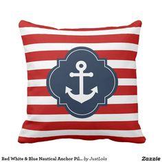 Red White & Blue Nautical Anchor Pillow