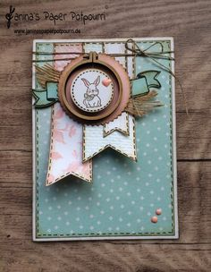 jpp – Vintage Easter card in soft blue with pink / easter card / bunny / bunny / bunny / pennant / mini embroidery hoop / Stampin 'Up' Berlin / A Good Day, Burlap, Sheet Music www. Ideas Scrapbook, Digital Scrapbook Paper, Scrapbook Cards, Diy Vintage, Vintage Easter, Vintage Stil, Vintage Birthday, Vintage Birds, Old Sheet Music