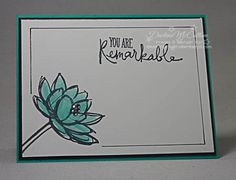 Clean and Simple Remarkable You Card by dreamingaboutrubberstamps.com - This clean and simple card was made with the Remarkable You stamp set in Bermuda Bay ink and Rhinestones from Stampin' Up! - a super easy card!