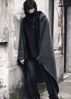 Post-apocalypse clothing / fashion / post-apocalyptic wear / male / dystopian / menswear / men's / cape / black