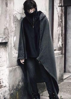 Post-apocalypse clothing / fashion / post-apocalyptic wear / male / dystopian / menswear / men's / cape / black