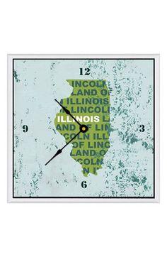 Green Leaf Art 'State Texture' Clock - Green