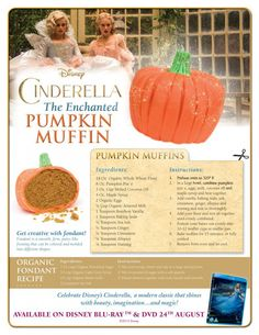 Cinderella Inspired Enchanted Pumpkin Muffins – In The Playroom Disney cinderella printable. Enchanted pumpkin muffin recipe great for autumn, halloween time Disney Themed Food, Disney Inspired Food, Disney Food, Disney Dishes, Disney Desserts, Disney Recipes, Cat Recipes, Cooking Recipes, Cinderella Recipe