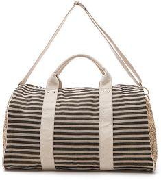 chic striped weekender bag