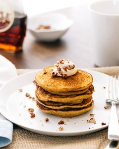 Gluten-Free Pumpkin Pancakes with Maple Mascarpone | A Couple Cooks