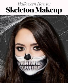 Easy Skeleton Makeup Tutorial, Half Skeleton Makeup, Halloween Skeleton Makeup, Half Skull Makeup, Skull Makeup Tutorial, Halloween Makeup Looks, Halloween Tutorial, Skeleton Face Paint Easy, Scarecrow Makeup