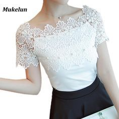 Brand Name: Liva girl Clothing Length: Regular Material: Polyester,Spandex Style: Casual Fabric Type: Broadcloth Decoration: Lace Pattern Type: Solid Collar: Slash neck Sleeve Style: Regular Sleeve Length(cm): Short Model Number: 00232 Gender: Women
