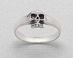 .925 Sterling Silver Small Band Design Imbed Skull Bones Gothic Biker SkeletonGothic Ring