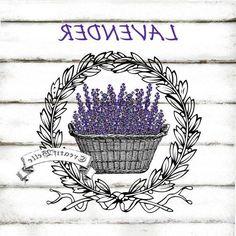 Vintage Lavender Basket Wreath Large Instant by CreatifBelle Vintage Diy, Images Vintage, Decoupage Vintage, Vintage Labels, Lavender Crafts, Etiquette Vintage, Image Digital, Foto Transfer, Iron On Fabric