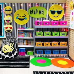 Classroom library for this year! Even though I only teach math, I still like to have books for kids to read. - New Deko Sites Neon Classroom Decor, Math Classroom Decorations, New Classroom, Classroom Displays, Kindergarten Classroom, Teaching Math, Classroom Ideas, Teaching Time, Classroom Design