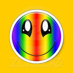 Rainbow Smiley Stickers from SpeakItDesigns on Zazzle.com