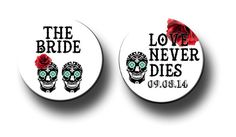 Skull Day of the Dead Theme Bridal Party Pins Bridal shower Bachelorette party crew 2.25 inch pinback buttons