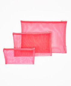 Pink Mesh Pouch Set by DM Merchandising #zulily #zulilyfinds
