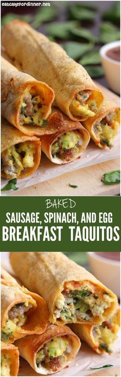 These Sausage, Spinach, and Egg Breakfast Burritos make such a delicious breakfast!