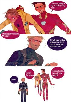 Iron Man/ Tony Stark, Peter Parker and Steve Rogers comic funny by man-luo Funny Marvel Memes, Marvel Jokes, Dc Memes, Avengers Comics, Avengers Quotes, Avengers Imagines, Funny Jokes, Marvel Fan Art, Marvel Actors