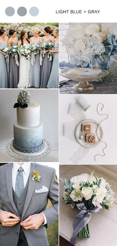 dusty blue and gray wedding color palettes combos spring wedding ideas diy white laser cut wedding invitations with gray ribbon elegant wedding invitations wedding flowers with ribbon wedding cakes with floral toppers wedding dresses Gray Wedding Colors, Summer Wedding Colors, Wedding Color Schemes, Burgundy Wedding, Wedding Blue, Gray Wedding Cakes, Gray Wedding Dresses, Gray Tuxedo Wedding, Spring Wedding Themes