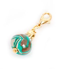 Branelli Teal Polymer Clay Dangle Gold PCD115