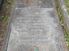 """Close-up of the family tomb of Bishop George Crey Wilkirson, M.A., Priest Inordinary to His Majesty the King Captain ICB, the Queens Regiment, born 30 Oct 1861, died 15 May 1915.  Also Major Henry Frederick Wilkirson, CB, late 3rd Battalion the Queen's Royal West Surrey Regiment, and second in command of the Metropolitan Special Constabulary during the Great War (1914-1918) son of the late Bishop, born 14 Jul 1863, died 17 Aug 1918.  """"A very perfect gentleman, he lived and died for his…"""
