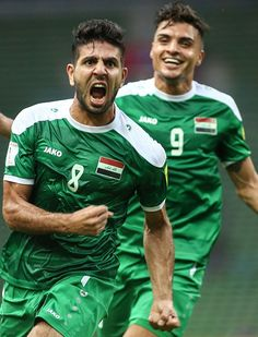 #WCQ2018 Mohanad Abdulraheem Karrar of Iraq celebrates after scoring a goal during the 2018 World Cup qualifying football match between Iraq and Saudi Arabia...