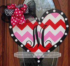 monogrammed chevron valentine door hanger red by sparkledwhimsy