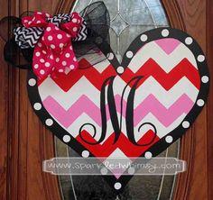 Heart Door Hanger; Heart Sign; Valentineu0027s Day Sign; Initial Door Hanger; Chevron Door Decor; Red u0026 Pink Wooden Heart Sign; February Door & Heart Door Hanger; Heart Sign; Valentineu0027s Day Sign; Initial Door ...
