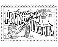 USA Printables Pennsylvania State Stamp