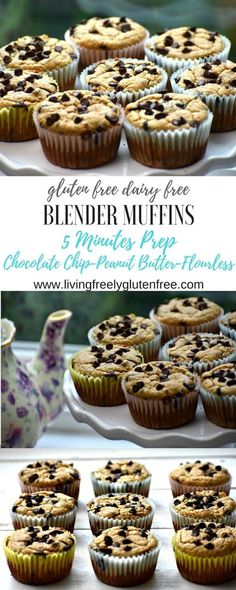 Delicious and easy Gluten Free and Dairy Free Chocolate Chip Blender Muffins. Perfect for snacks, breakfast and lunch boxes. They are flourless with 5 minutes of prep. Made with peanut butter, oats and flax-these are healthy and delicious. www.livingfreelyglutenfree.com