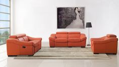 8021 Living Room Set with Recliners in Orange Leather by ESF Furniture