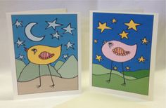 Hand Drawn Whimsical Greeting Cards  Happy by SnowflakeEclecticArt