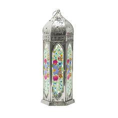 Lisbeth Dahl Floral Hand Painted Lantern - Silver