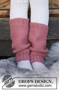 Røsslyng / DROPS Children 30-25 - Children's knitted leg warmers with moss stitch. Sizes 3 - 12 years. The piece is worked in DROPS Puna.