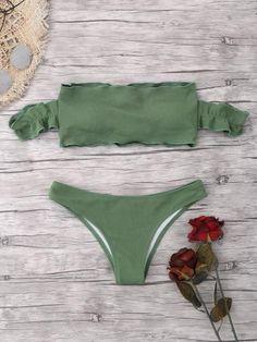 be9af04fd3ea8 Bikini Swimwear 2018 New Ruffled Ribbed Off The Shoulder Bikini Swimsuit  Women Textured Brazilian Biquni Sexy Bathing Suit