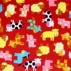 cow, pig, horse, sheep in Red