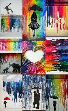 ideas crayon art for kids boxes Crayons Fondus, Melting Crayons, Crayon Painting, Stencil Painting, Crayon Canvas, Crayon Crafts, Crayon Art Tutorials, Easy Art Lessons, Aluminum Foil Art