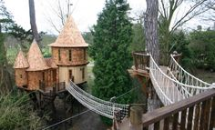 The tree house is made up of two sections. - This Family Lives In A Tree House That Looks Like A Castle. Wait Until You See The Inside. Luxury Tree Houses, Cool Tree Houses, British Family, Tree House Designs, Blue Forest, Diy Holz, In The Tree, Play Houses, Houses Houses