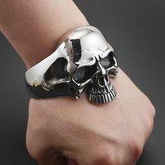Stainless Steel Huge Heavy Skull Mens Biker Bracelet Bangle Cuff in Jewelry & Watches, Men's Jewelry, Bracelets Skull Bracelet, Skull Jewelry, Gothic Jewelry, Bracelet Men, Skull Rings, Men's Jewelry, Male Jewelry, Gothic Clothing, Punk Jewelry