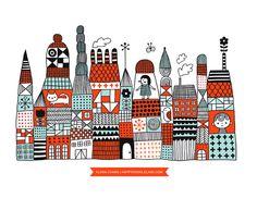 Doodle Town print | Flora Chang